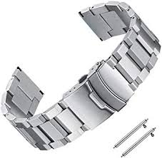 <b>22mm</b> Stainless Steel Watch Band for Men Silver <b>Matte</b> Metal Watch ...
