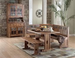 rustic hutch dining room: arizona rustic oak corner breakfast nook amp hutch and buffet set