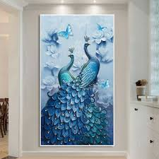 5D <b>DIY Peacock Diamond Painting</b> Full Drill Home Decor ...