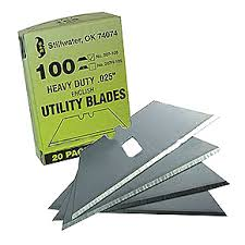 Heavy-Duty <b>Straight</b> Carbon-Steel Utility Razor Blades (<b>100 pack</b>)