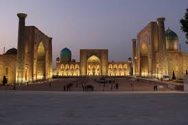 samarkand photo essay the registan pashbymaul adventures the iconic registan complex lit up the night before our tour