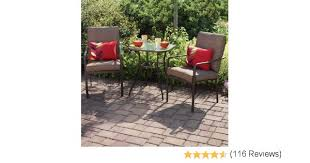 crossman piece outdoor bistro: amazoncom crossman  piece all weather square outdoor bistro furniture patio set glass top table  chairs full set quality uv protected material