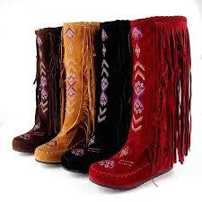 Vintage Women's Faux Suede Mid-calf Flat Boots Winter Tassel ...