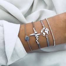 <b>4 Pcs</b>/<b>Set</b> World <b>Map</b> Beads Heartbeat Bracelet Elegant Charming ...
