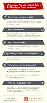 questions to ask before choosing an e learning vendor infographic 6 questions to ask before choosing an e learning vendor infographic