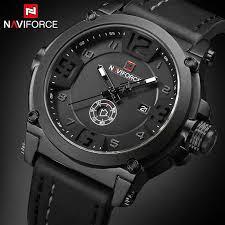 NAVIFORCE Watch Men <b>Top Luxury Brand</b> Leather Waterproof ...