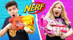NERF BLASTER CHALLENGE <b>Boy</b> vs <b>Girl</b> (Learn How to Make ...