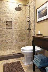 bathroom shower tile design color combinations: contemporary bathroom with doorless walk in shower also mosaic wall tiling also classic shower head design also white classic toilet also brown classic