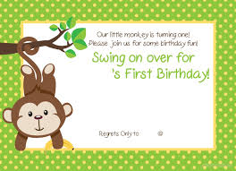 printable 1st monkey birthday invitation drevio invitations printable 1st monkey birthday invitation