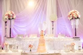 Cake Table Decoration A Romantic Reception Decoration With Ruffles And Crystals