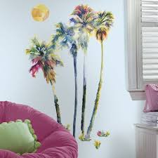 palm tree wall stickers: amazon com palm tree with birds wall art vinyl sticker decal roommates rmkgm watercolor trees peel stick giant decals