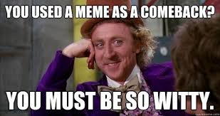 you used a meme as a comeback? you must be so witty. - Willie ... via Relatably.com