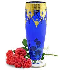 <b>Ваза</b> для цветов Dinastia Blu <b>42 см</b> хрусталь синий/золото серия ...