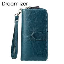<b>Brand</b> Wax Oil <b>Real Leather</b> Women Wallet Large Compartment ...