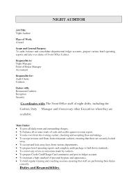 sample resume hotel night auditor resume internal internal auditors job description