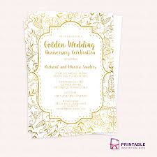 golden wedding anniversary invitation template larr printable this template can also be used as 50th birthday invitation any 50th anniversary event or any gold themed occasion