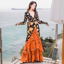 <b>2019 New Boho Style</b> Long Dress V neck Floral Printing Long ...