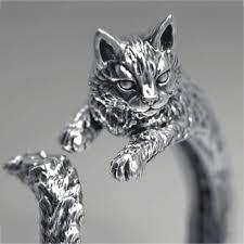 CHUHAN New Arrival High Quality Retro Style Cute Cat Thai Silver ...
