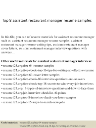 Top   assistant restaurant manager resume samples SlideShare Top   assistant restaurant manager resume samples In this file  you can ref resume materials