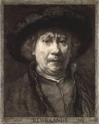 William Unger (1837-1932) after Rembrandt Detail of Self-portrait in the Kunsthistorisches Museum, Vienna, 1906. Etching with aquatint, 57 x 53.8 cm. - BartschRembrandtSelfPortrait