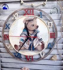 """Купить <b>Часы</b> """"Отважный капитан"""" - Декупаж, белый, детская ..."""