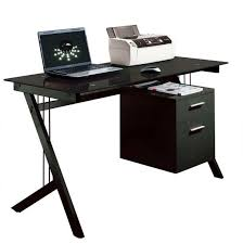 black glass computer desk pc laptop printer table home office with drawer black computer desks