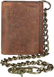 CTM Men's <b>Crazy Horse Leather</b> RFID Trifold Chain Wallet, Brown ...