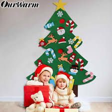 OurWarm 3D <b>Felt Christmas</b> Tree with Ornaments New Year Gifts for ...