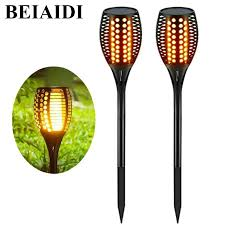 BEIAIDI 2pcs <b>LED Solar</b> Flickering Tiki Torches Light <b>96 LED</b> ...