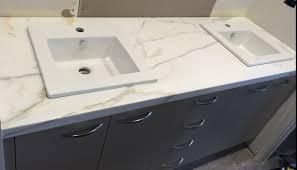 calacatta marble kitchen waterfall: calacatta marble vanity   calacattavanity calacatta marble vanity