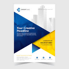 Flyer <b>Abstract</b> Template with <b>Blue</b> and <b>Yellow Abstract</b> Polygonal ...