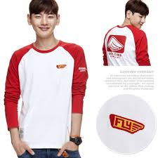 "Red Raglan Sleeves Back-Printed T-Shirt   ""For more <b>fun life</b>"""