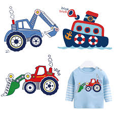 kids cartoon excavator stickers <b>for clothes funny</b> ship <b>iron on patches</b> ...