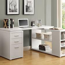 white wooden corner desk with bedford shaped office desk