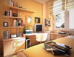 cheerful orange colored teenage bedroom with white study desk and space saver furniture cool room design cheerful home teen bedroom