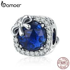 BAMOER <b>New Arrival 925 Sterling</b> Silver Blue Crystal Bowknot ...