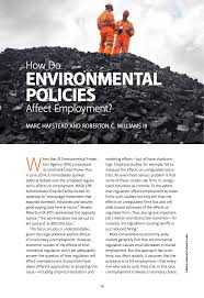 how do environmental policies affect employment resources for how do environmental policies affect employment