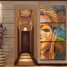 Buddha Statue Abstract Painting 3 Piece HD Multi Panel <b>Canvas</b> ...