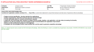 application support analyst cv work experience   it application solution architect