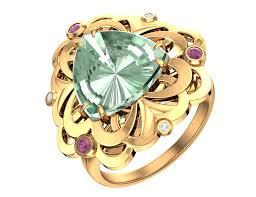 Эксклюзивное золотое кольцо с зеленым <b>аметистом</b>, розовыми ...