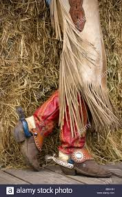 cowgirl boots stock photos cowgirl boots stock images alamy usa oregon seneca ponderosa ranch fancy cowgirl boots and fringed chaps