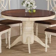 room table displays coaster set driftwood: cameron cottage two tone round pedestal dining table