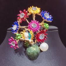 <b>SHDIYAYUN New Pearl</b> Brooch Flower Vase Brooch For Women ...