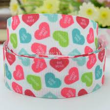 "<b>Free shipping</b> 7 8"" <b>22mm</b> Valentine's day heart Printed grosgrain ..."