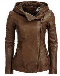 <b>Stylish Hooded Long Sleeve</b> Solid Color PU Women's Jacket ...