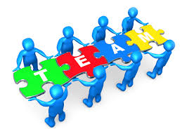 skills inspiring edchat team of 8 blue people holding up connected pieces to a colorful puzzle that spells out a good leader will have mastered