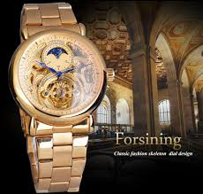 <b>Forsining Men'S Watches Golden</b> Moon Phase Automatic ...