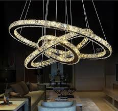 DIY LED Pendant Lights K9 Crystal Hanging Lamps Fixtures For Indoor Home Lighting 3 Rings