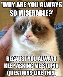 Why are you always so miserable?' Because you always keep asking ... via Relatably.com