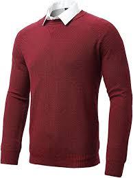 FLY HAWK <b>Mens</b> Pullover Sweaters, Regular Fit Crewneck Long ...